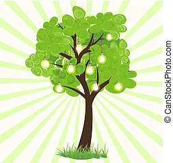 technological tree - illustration of bulb growing on tree