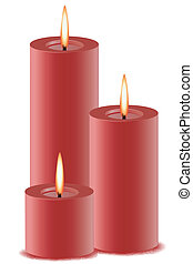 burning candle - illustration of set of burning candles on...