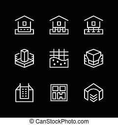 Set line icons of house foundation isolated on black. Vector...