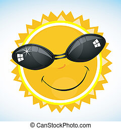 smiling sun - illustration of cool smiling sun