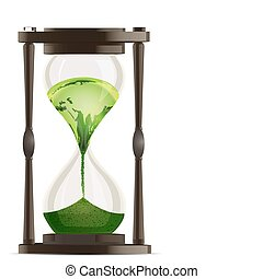 eco hour watch - illustration of eco hour watch on white...