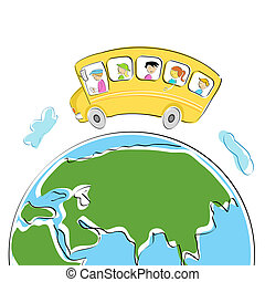world tour - illustration of students in school bus on world...