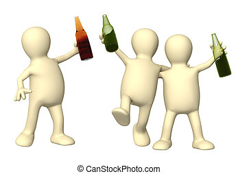 Cheerful friends with bottles of beer Isolated over white