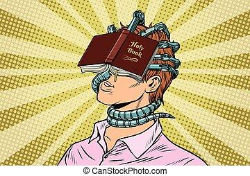 religious fanatic man. Pop art retro vector vintage...