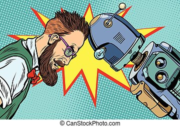 Robot vs human, humanity and technology. Pop art retro...