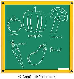 vegetable sketch - illustration of vegetable sketch on board