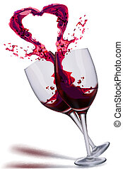 wine splashing out in heart shape - illustration of wine...