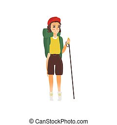 vector flat girl hiker with backpack trekking pole - vector...