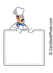 chef holding cooking card - illustration of chef holding...