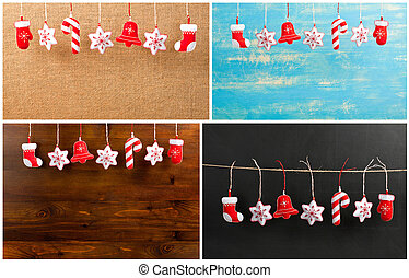 Set of Hanging Christmas and New Year decorations on a...