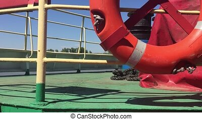 ship deck lifeline and handrail view from the first person...