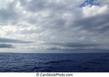 cloudy stormy day on the ocean sea