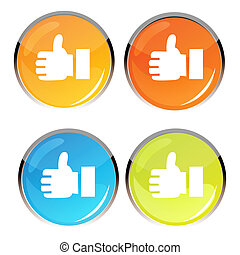 thumbs up symbol - illustration of thumbs up symbol on white...