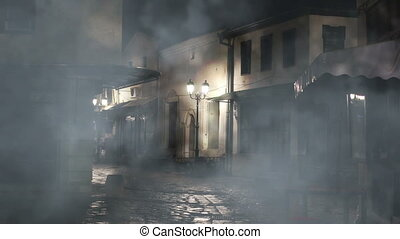 Foggy night on old street