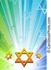 happy hanukkah with star of david - illustration of happy...