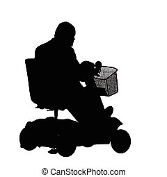 Senior driving mobility scooter on white background, vector...