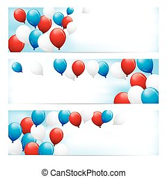 Banners with Red, White & Blue Balloons - A set of fun...