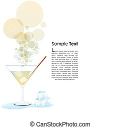 cocktail glass - illustration of cocktail glass with ice and...