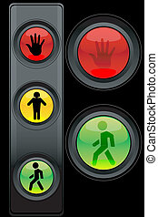traffic light - illustration of traffic light with symbols