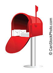letter box - illustration of letter box with letters on...