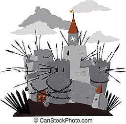 Cartoon castle - Heavily fortified cartoon fortress with...