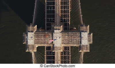 Aerial top view of Brooklyn bridge in New York, America....