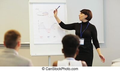 businesswoman with charts at business conference - business,...