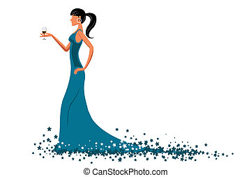 glamorous lady - illustration of glamorous lady with wine on...