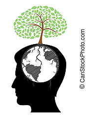man's mind with tree - illustration of man's mind with tree...