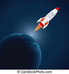 rocket in universe - illustration of rocket in universe