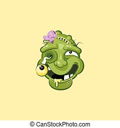 Head, facial expression zombie with dreamily smiling smiley...