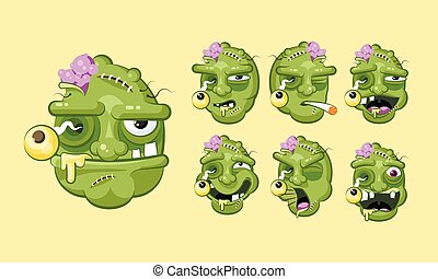 Set vector kit collection terrible facial expression of...