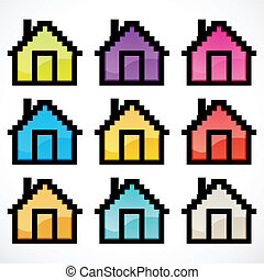 group of colorful homes