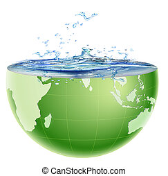 globe core with water splashing out - illustration of global...