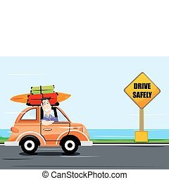 man driving car on the way - illustration of man driving car...