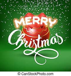 Merry Christmas lettering congratulation card with red ball
