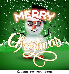 Merry Christmas lettering congratulation card with snowman