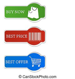 shopping tags - illustration of shopping tags on...