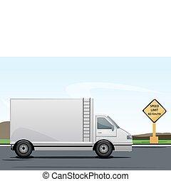 truck on road - illustration of truck on road