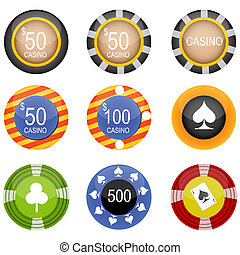 casino icons - illustration of casino icons on white...