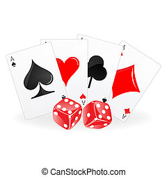 playing card with dice - illustration of playing card with...