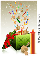 hanukkah gift box - illustration of hanukkah gift box