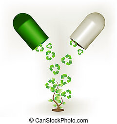 recycle capsule - illustration of recycle capsule with tree...