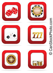 02A6 - illustration of different casino symbols on white...