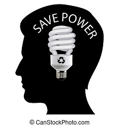 save power - illustration of save power with mans mind on...
