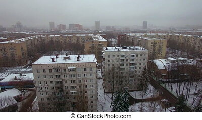 Aerial winter view of apartments buildings in Moscow, Russia...