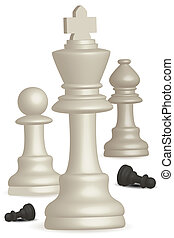 chess game - illustration of chess game on white background