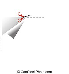 cutting paper - illustration of scissor cutting paper