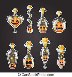 Big set of bottle elixir with Halloween pumpkin. Game design...