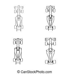 Set of racing cars - Set of outlines of racing cars, Vector...